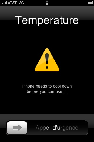 iPhone Temperature Warning Image